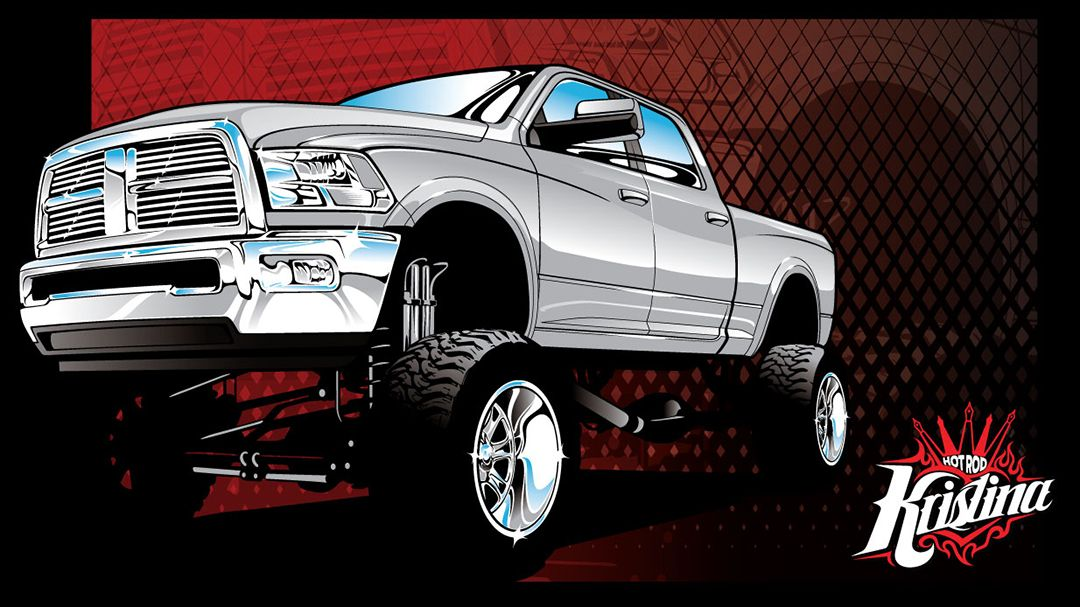 Chevy 4x4 Vector Clip Art, Dodge 4x4 Vector Clip Art.