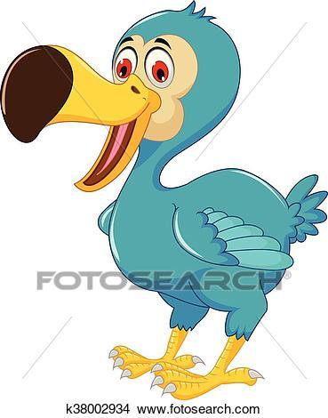 Cute dodo bird cartoon posing Clipart.
