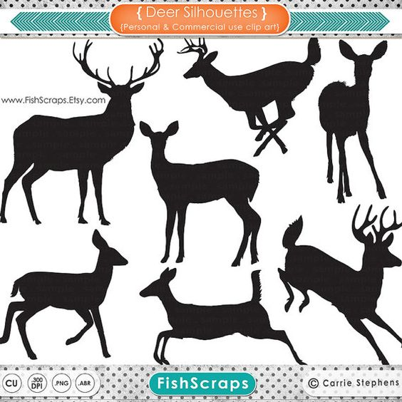 Deer Clip Art Silhouettes & Outlines, Buck and Doe Party.