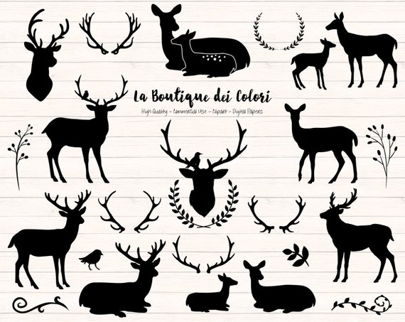 Black Deer Silhouette Clipart, Cute Graphics PNG, Christmas deer.