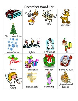 December Word and Picture Chart.