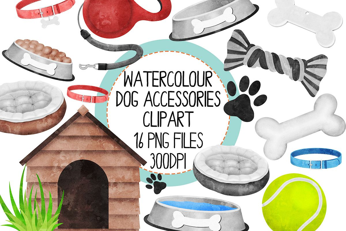 Watercolor Dog AccessoriesClipart Set.