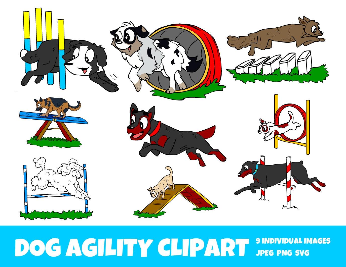 Dog Agility Clip Art Commercial Use OK Dog Sports Jumps Weave Seesaw Border  Collie Poodle Dobberman Huntawy.