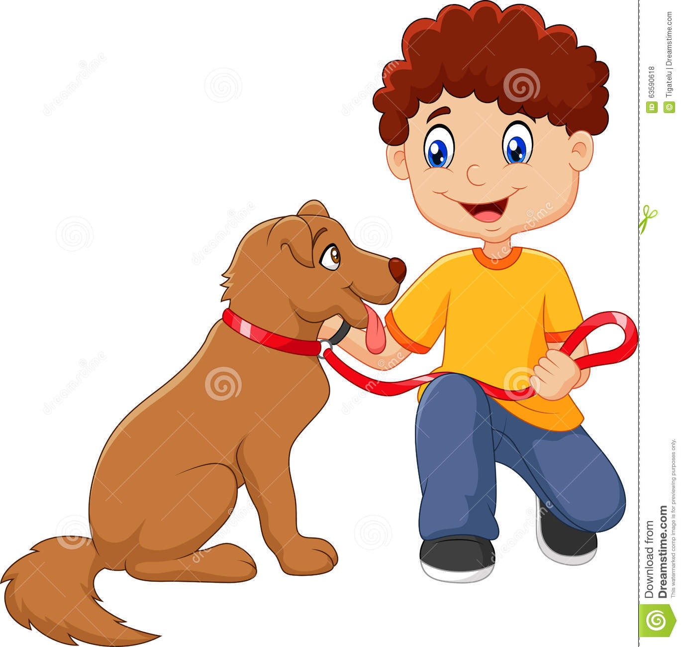 A Boy And His Dog Clipart.