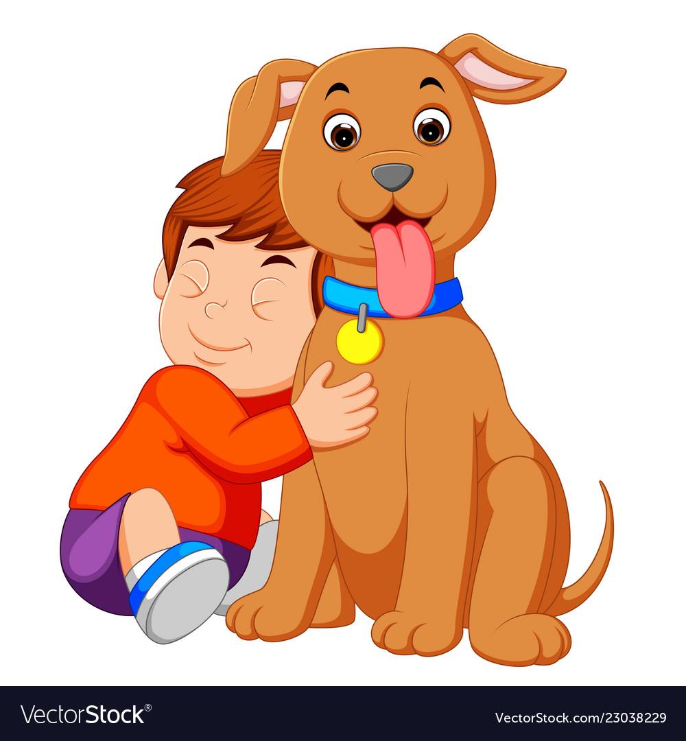 A little boy hugging his dog.