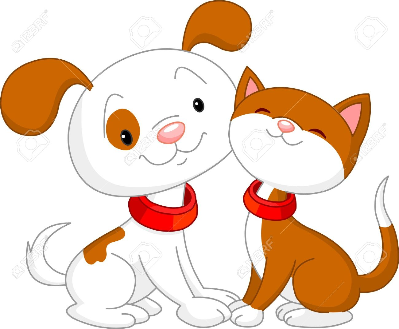 Free cartoon dog and cat clipart.