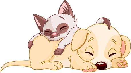 Cartoon Of Dog And Cat At Christmas Clipart.