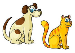 Beige Brown Dog and Orange Striped Cat Clipart.
