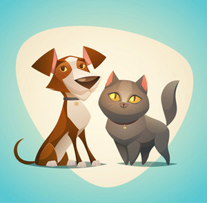Brown and White Dog with Gray Cat Clipart.