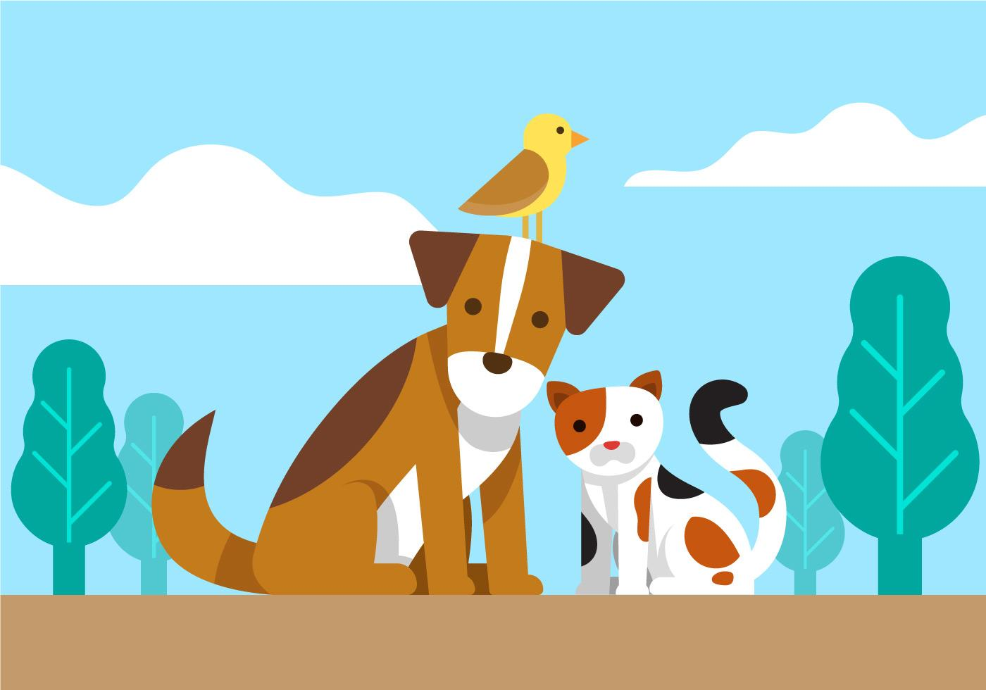 Dog, Cat and Bird Friends Vector.
