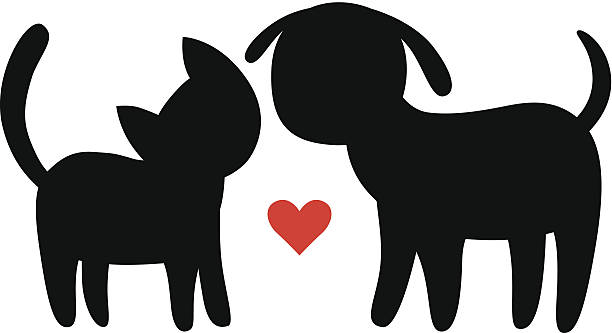 Dog Cat Silhouette Clip Art.