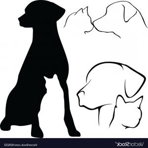 Dog And Cat Silhouettes Vector.
