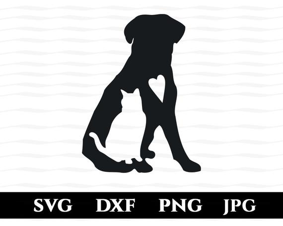 Dog and Cat Love Silhouette SVG, Dog, Cat and Heart; Animal Lover; DXF, PNG  File Silhouette, Cameo, Cricut.