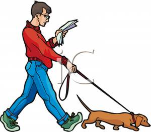 Clip Art Man Walking Dogs Clipart.