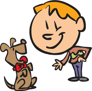 Clipart man and dog.