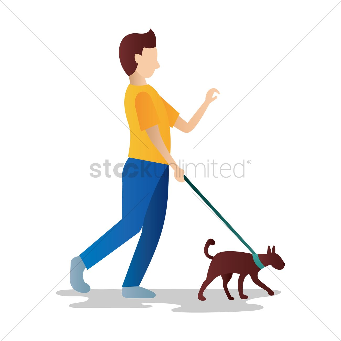Old man walking with his dog Vector Image.