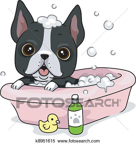 Dog Bath Clipart.