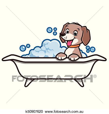 Cartoon Dog Bath Clipart.