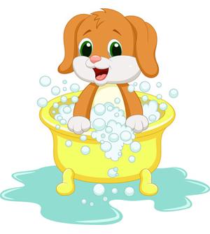 Dog Clip Art Cute Puppy Dog in Bath.