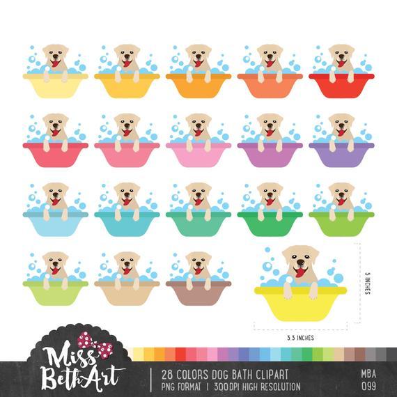 28 Colors Dog Bath Clipart. Pets supplies.