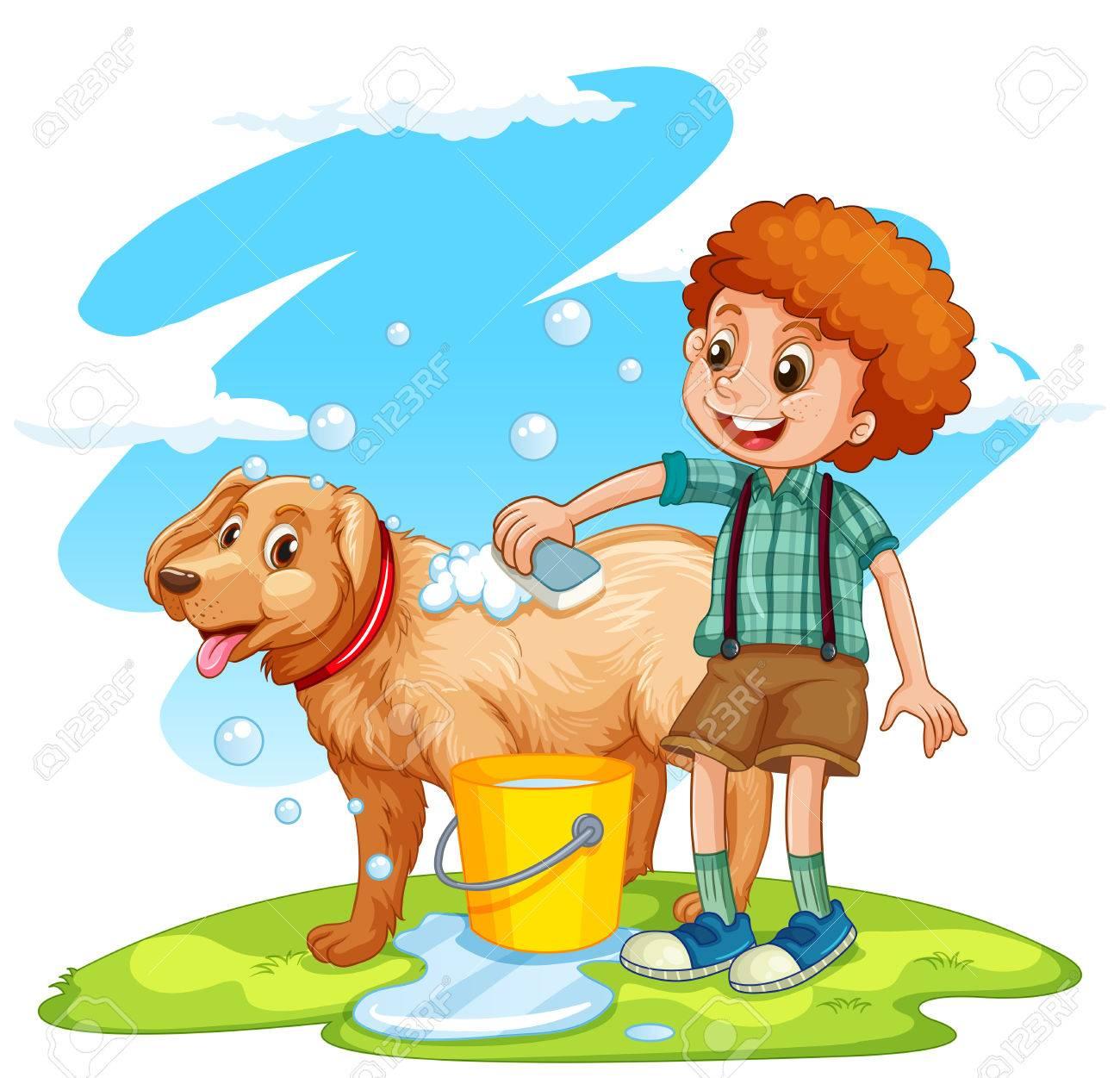 Boy giving dog a bath illustration.