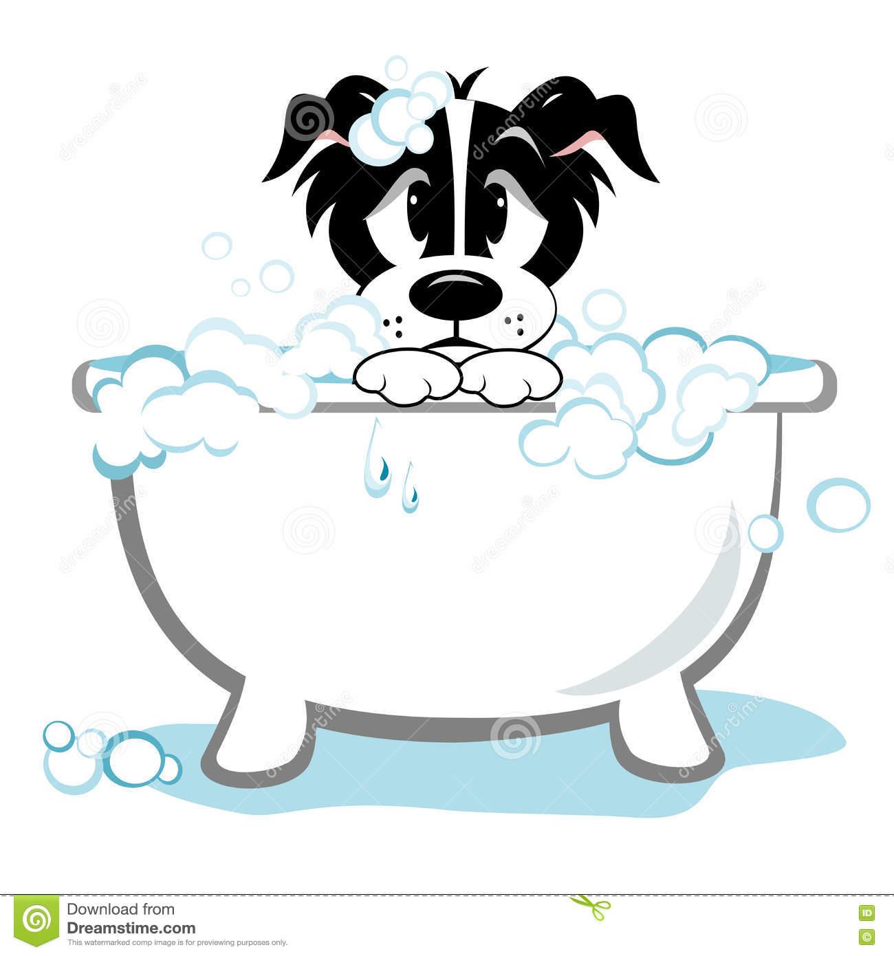 Sad Dog Taking Bath stock vector. Illustration of bathtub.