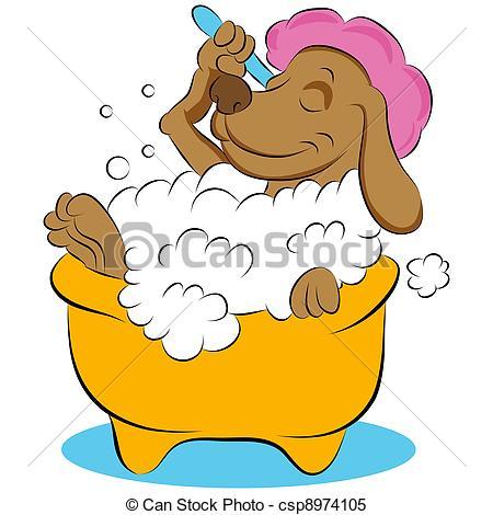Dog Taking a Bubble Bath.