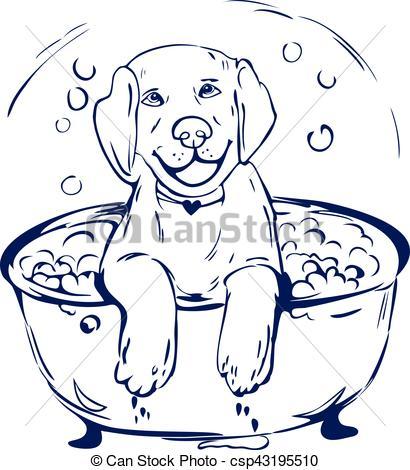 Dog bath grathic illustration.