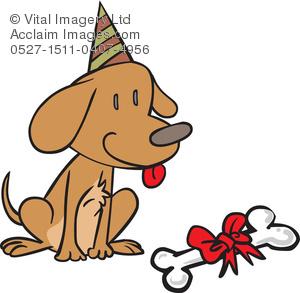 Clipart Illustration of a Dog's Birthday.