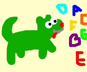 Green booger dog chases colored letters (drawing by Lou172).
