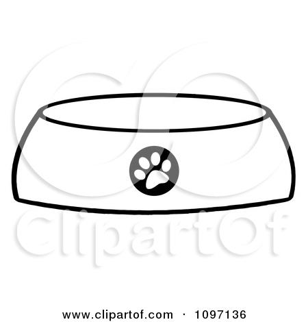 Dog Bowl Outline Clipart.