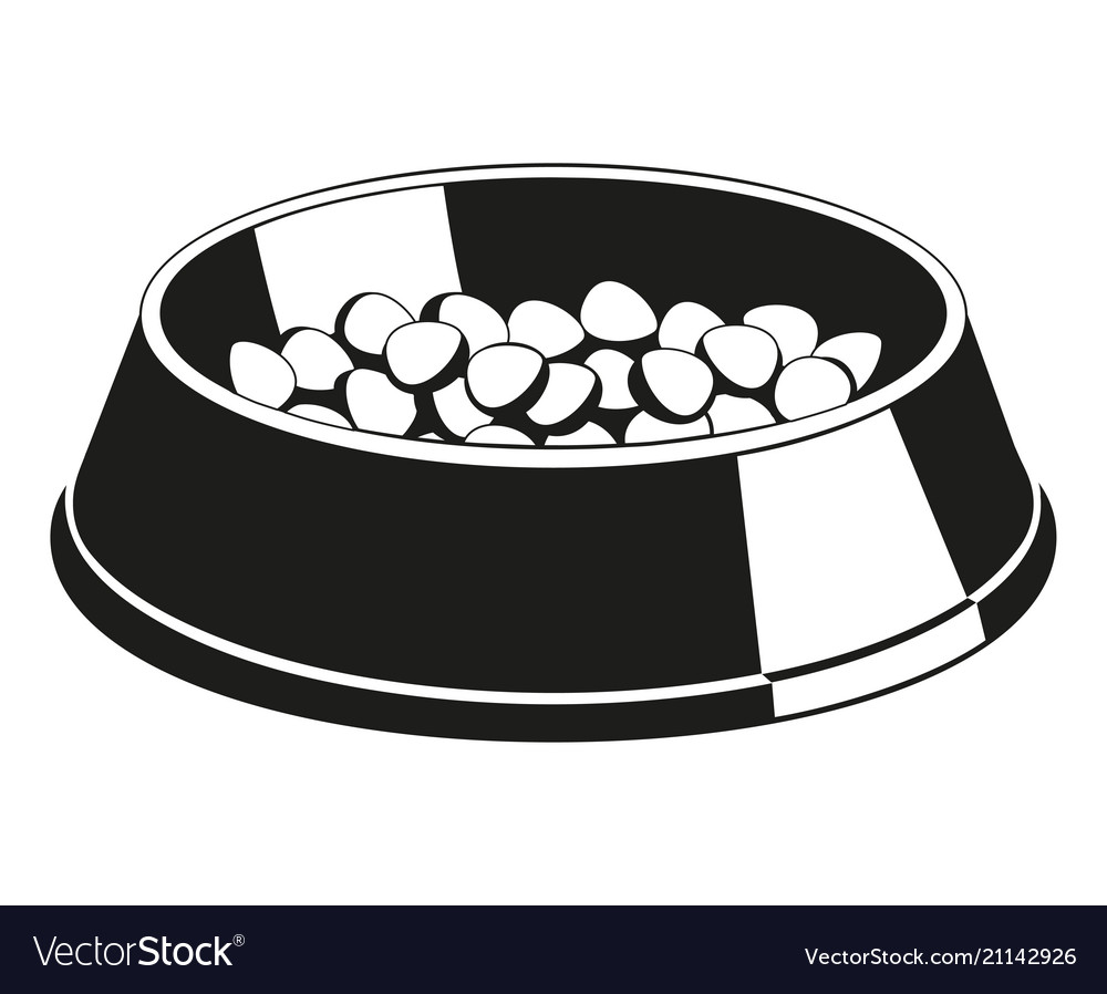 Black and white pet food bowl silhouette.