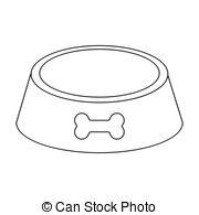 Dog Bowl Clipart Black And White.