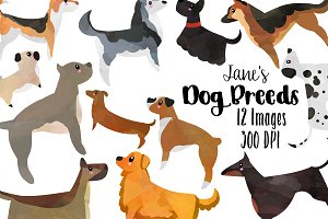 Dog breeds clipart Photos, Graphics, Fonts, Themes, Templates.