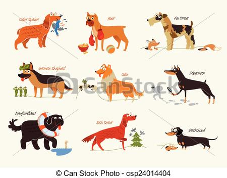 Vector Clipart of Dog breeds. Working dogs.