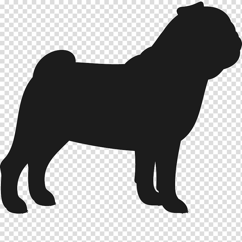 French Bulldog Pug Silhouette Dog breed, Silhouette transparent.