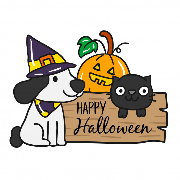 Halloween Dogs And Cats Clipart.