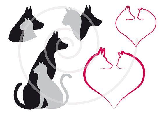 Cat and dog digital clip art set, pet, animal clipart, heart.