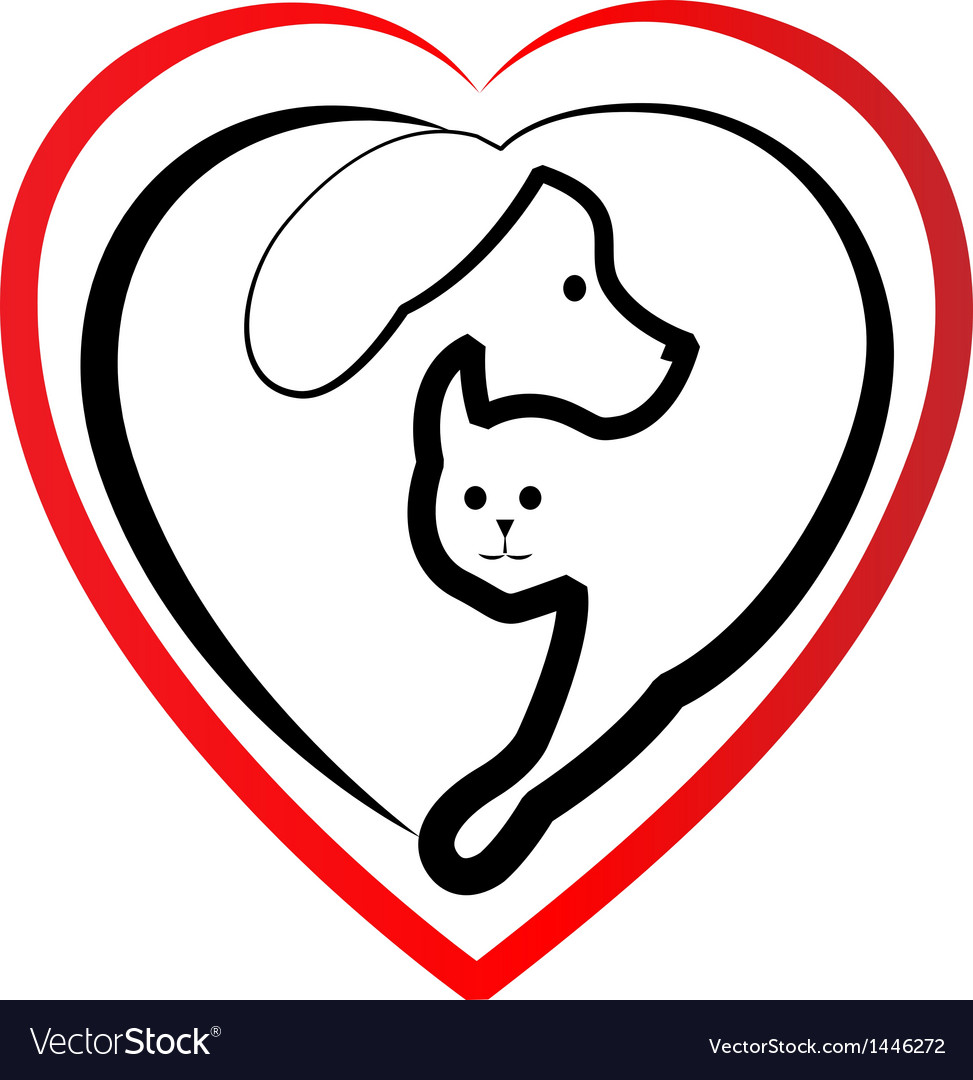 Cat and dog heart silhouette logo.