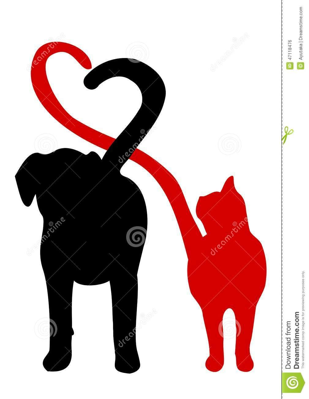 Illustration about Dog and cat silhouette making a heart in.