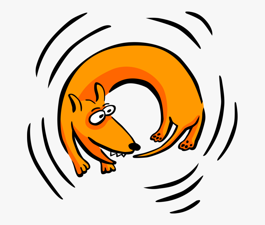 Vector Illustration Of Family Pet Dog Chasing His Tail.