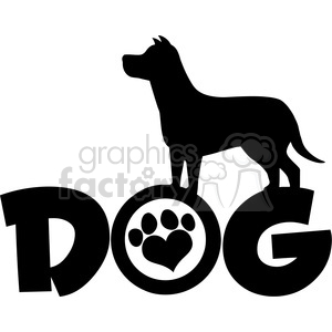 Royalty Free RF Clipart Illustration Dog Black Silhouette Over Text With  Love Paw Print Vector Illustration Isolated On White Background clipart..