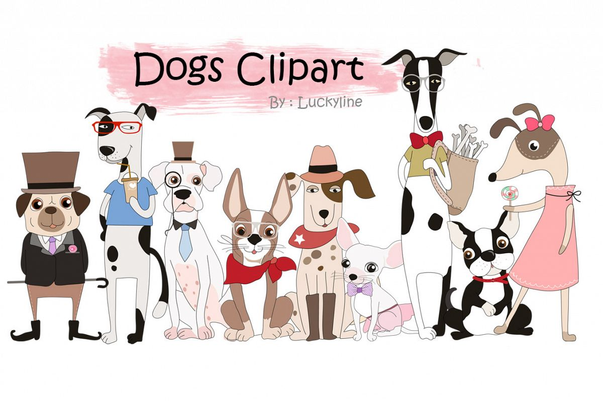 Cute dogs clipart.