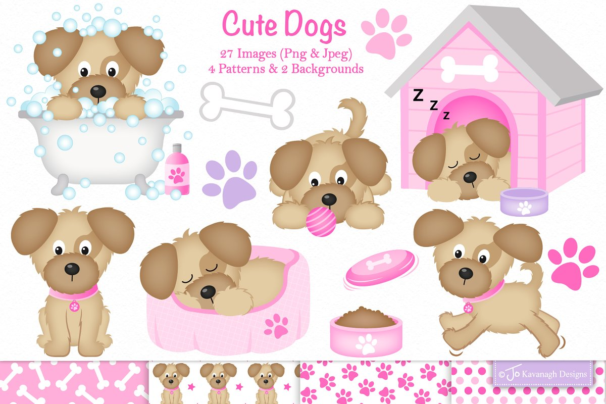 Dog clipart, Cute dogs.