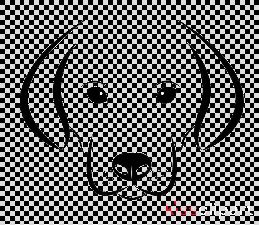 face line art white nose dog clipart.