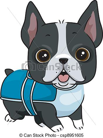 Dog in coat clipart.