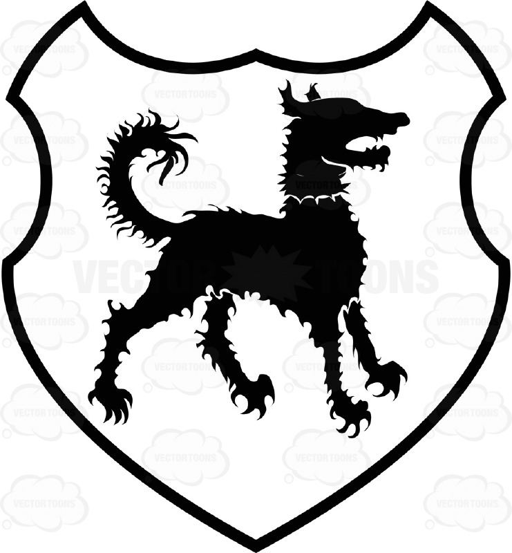 Black And White Curly Hair Dog Coat Of Arms Inside Geometric.