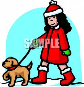 Dog in coat clipart.