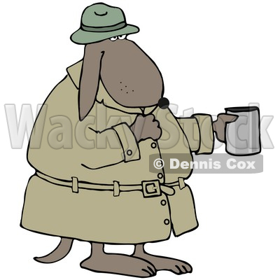 Illustration of a Poor, Homeless Dog In A Trench Coat And Hat.