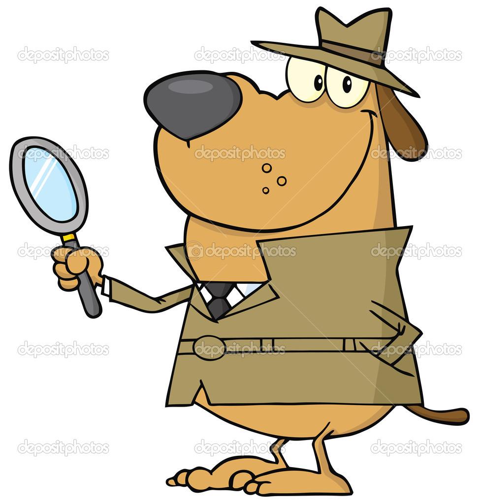 Detective Dog Cartoon Character.